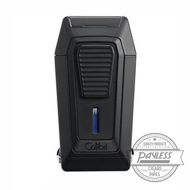 Colibri Gotham Triple Flame Lighter With V-Cutter - Black & Black (LI970C1)