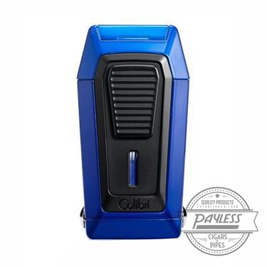 Colibri Gotham Triple Flame Lighter With V-Cutter - Blue & Black (LI970C5)