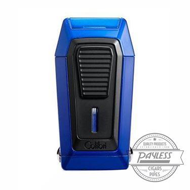 Colibri Gotham Triple Flame Lighter With V-Cutter - Blue & Black (LI970C5)