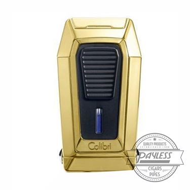Colibri Gotham Triple Flame Lighter With V-Cutter - Gold & Black (LI970C6)