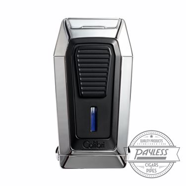 Colibri Gotham Triple Flame Lighter With V-Cutter - Chrome & Black (LI970C2)