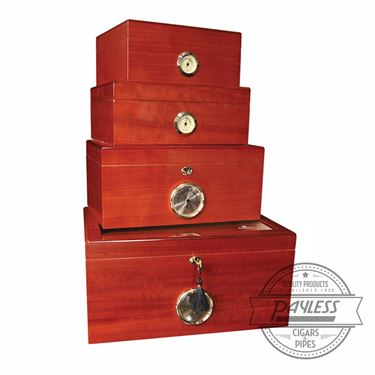 Savoy Mahogany Glass-Top Humidor - Medium