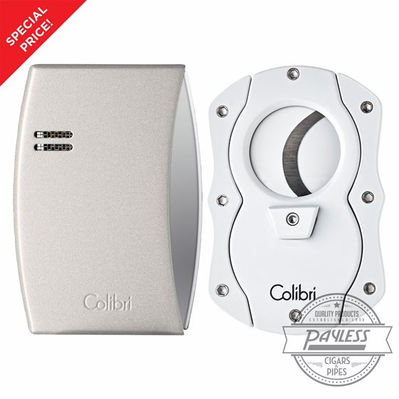 Colibri Eclipse Lighter and Cigar Cutter Gift Set - White On Sale