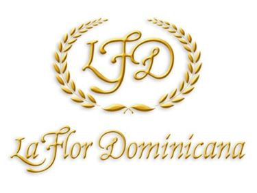 La Flor Dominicana Gold Script logo